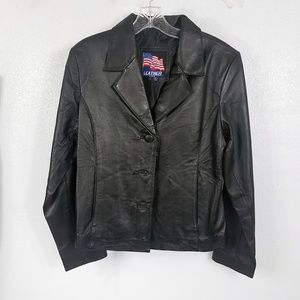 USA Leather Women's Black Button Down Jacket Coat
